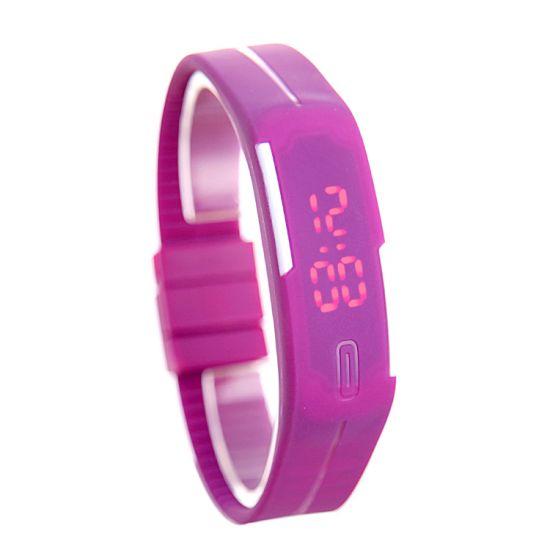 Montre Bracelet Digital Ultra Slim Silicone Fushia