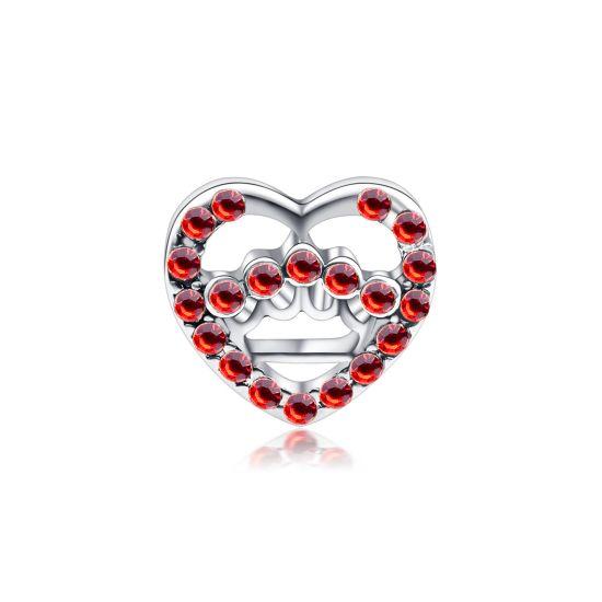 Charm Coeur ajouré rouge