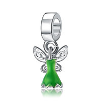 Charm Pendentif Robe Fée Clochette verte