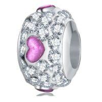 Perle Cristal Coeur fuchsia