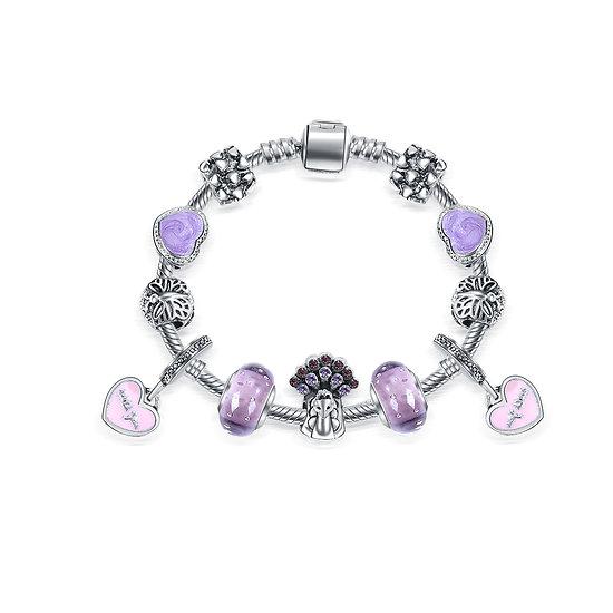 Bracelet Charm Sydney Violet 18 cm