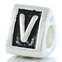 Letter V charm bead