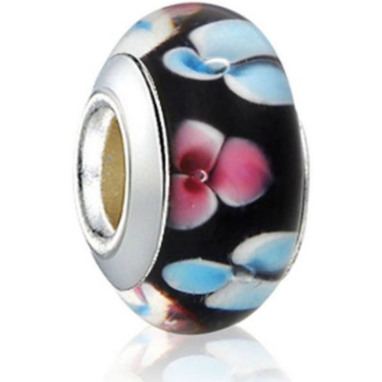Perle en verre Noir fleuri