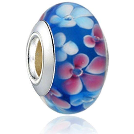 Perle en verre bleu fleuri