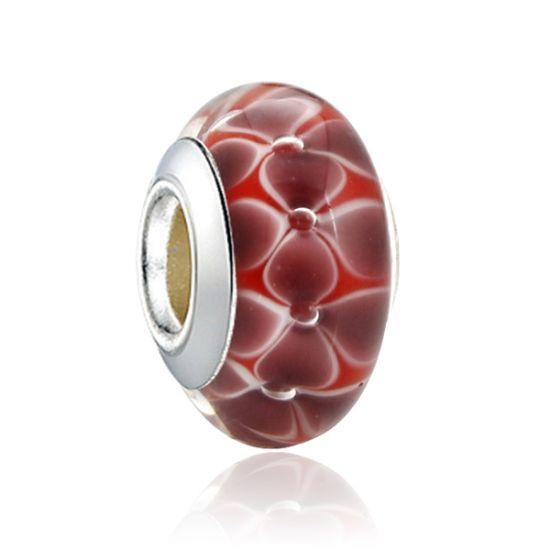 Perle en verre Rouge Couronne