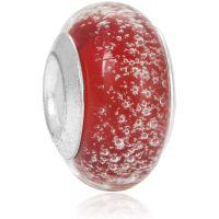 Perle en verre Rouge à bulles