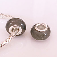 Grey glitter bead