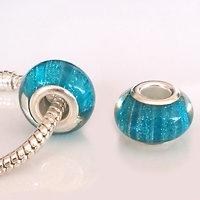 Perle à Paillettes Bleu rayé