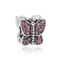 Pink butterfly charm bead