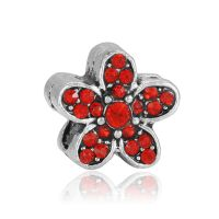 Red daisy charm bead