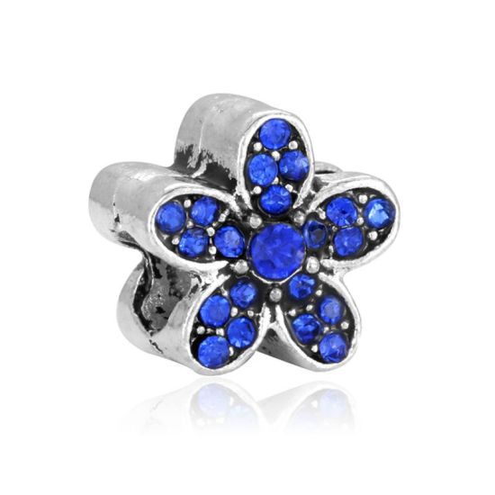 Blue daisy charm bead