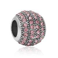 Pink crystal ball charm bead