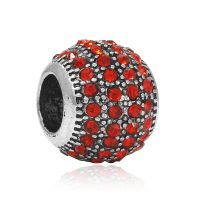 Red crystal ball charm bead