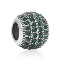 Green crystal ball charm bead