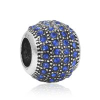 Blue crystal ball charm bead
