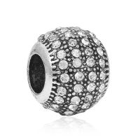 White crystal ball charm bead