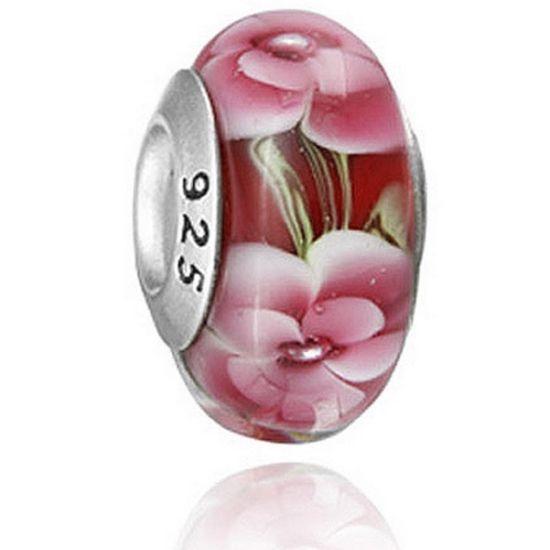 Perle en verre Rouge Fleurs en folie