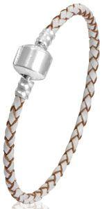 Bracelet en cuir blanc 17 cm