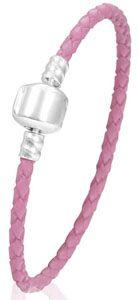 Bracelet en cuir rose 18 cm