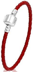Bracelet en cuir rouge 21 cm