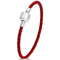 Red leather charm bracelet 8.3