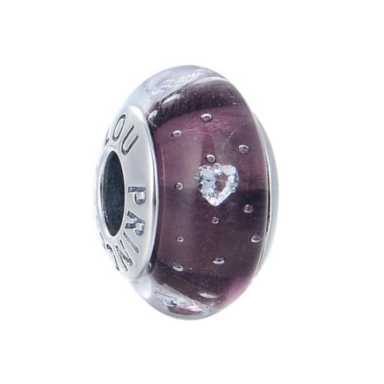 Charm Murano Violet Coeur Cristal S925