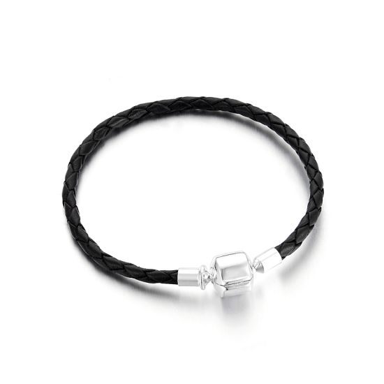 Black Braided Leather Charm Bracelet 7.9