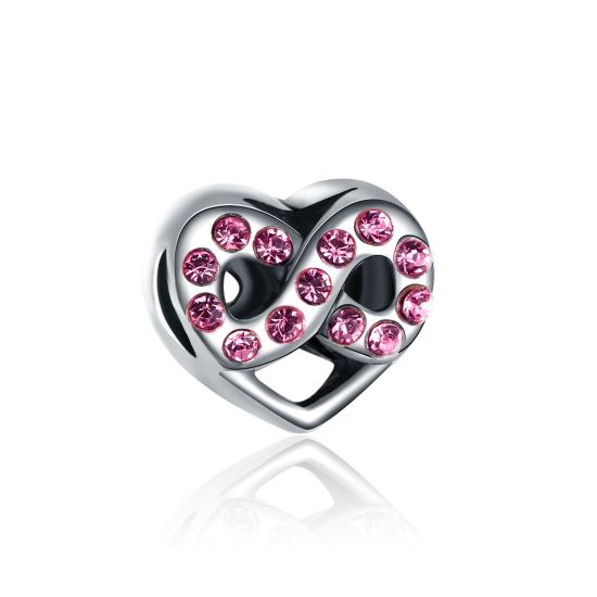 Infinite Pink Heart Charm Bead
