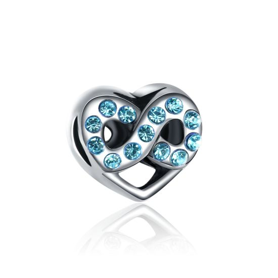 charm coeur infini bleu bracelet charms pas cher. Black Bedroom Furniture Sets. Home Design Ideas