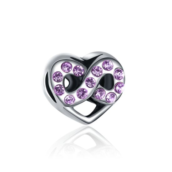 Infinite Purple Heart Charm Bead