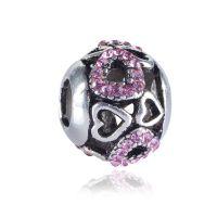 Pink Heart Charm Bead