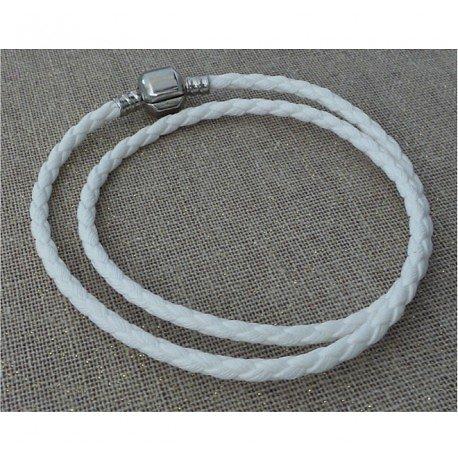 Double Bracelet Charm Cuir Blanc 34cm