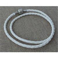 Double Bracelet Charm Cuir Blanc 38cm