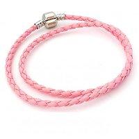 Double Bracelet Charm Cuir Rose 42cm