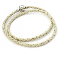Double Bracelet Charm Cuir Gris 38cm