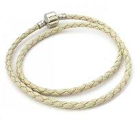 Double Bracelet Charm Cuir Gris 42cm