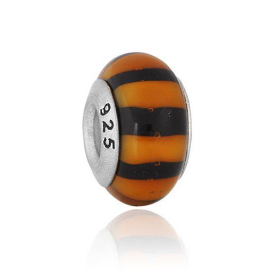 Perle en verre noir rayures oranges