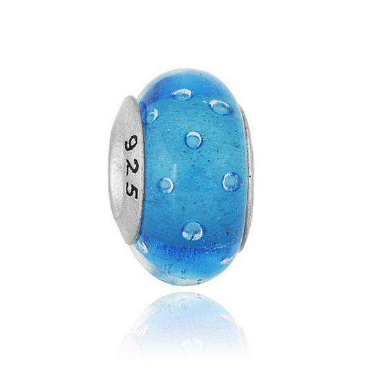 Perle en verre Bleu à bulles