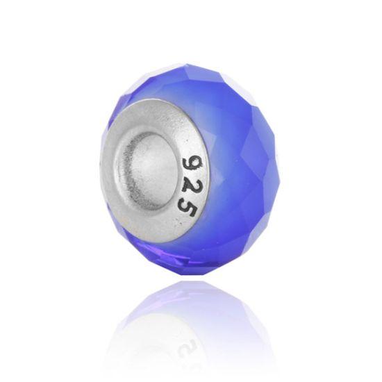 Perle en verre Bleu nuit facetté