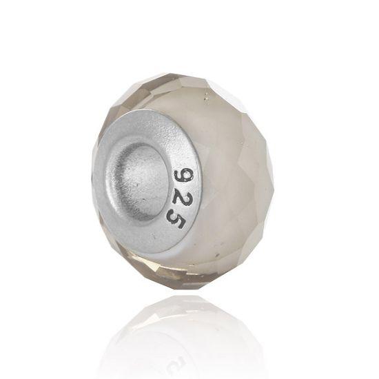 Perle en verre Beige facetté
