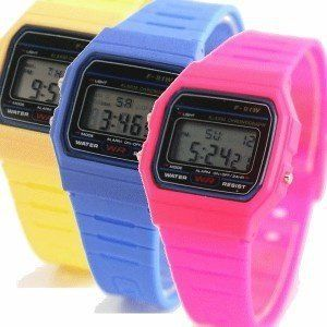 Montre Digital Silicone vintage Rose Fluo style Casio