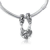 Half heart mother daughter dangle charm