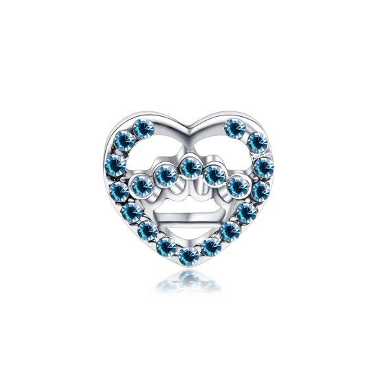Charm Coeur ajouré bleu