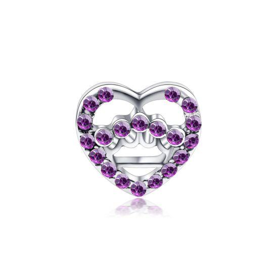 Charm Coeur ajouré violet