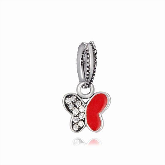 Charm Pendentif Papillon Scintillant rouge
