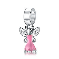 Charm Pendentif Robe Fée Clochette rose