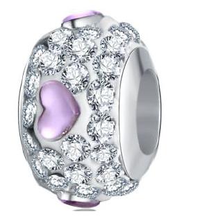 Perle Cristal Coeur violet