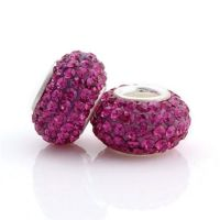 Fushia crystal and silver charm bead