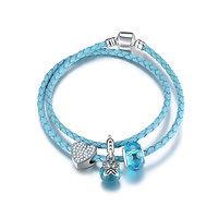 Bracelet Charm Double Papillon Bleu 17 cm