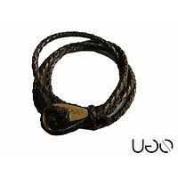 Bracelet UGO en cuir Marron Tressé